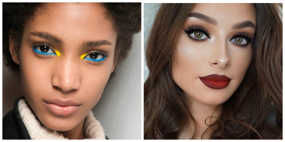 maquiagem 2018, delineador amarelo , verde cor de batom baga