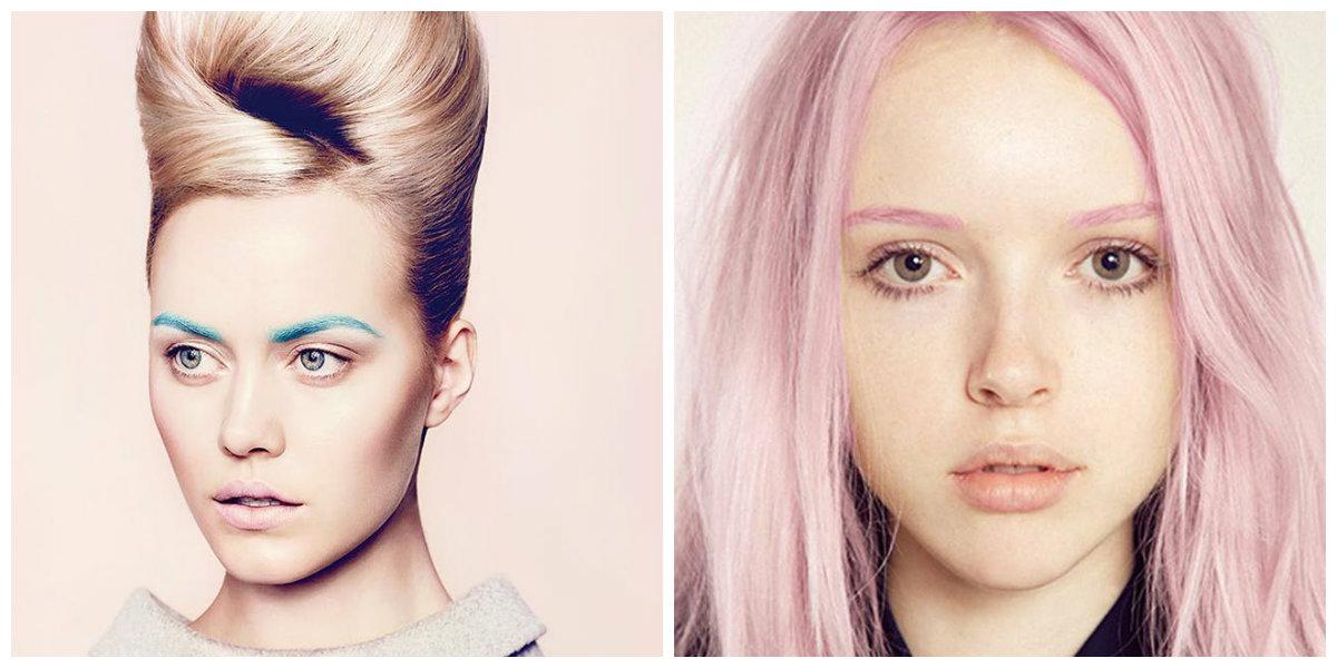 maquiagem 2018, sobrancelhas de cor azul e rosa