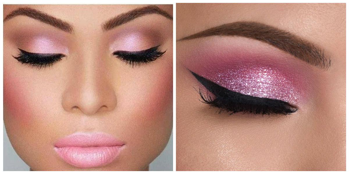 maquiagem de inverno 2018, maquiagem com sombras de cor de rosa