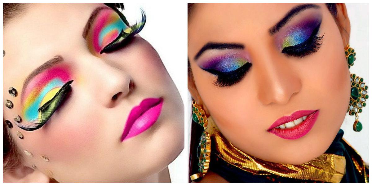 maquiagem para festa 2018, maquiagem com cores vivas