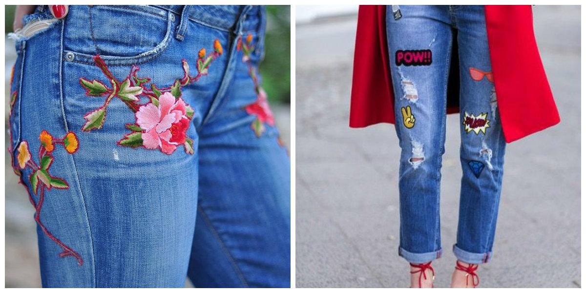 vestidos da moda 2018, calcas de ganga com desenhos florais