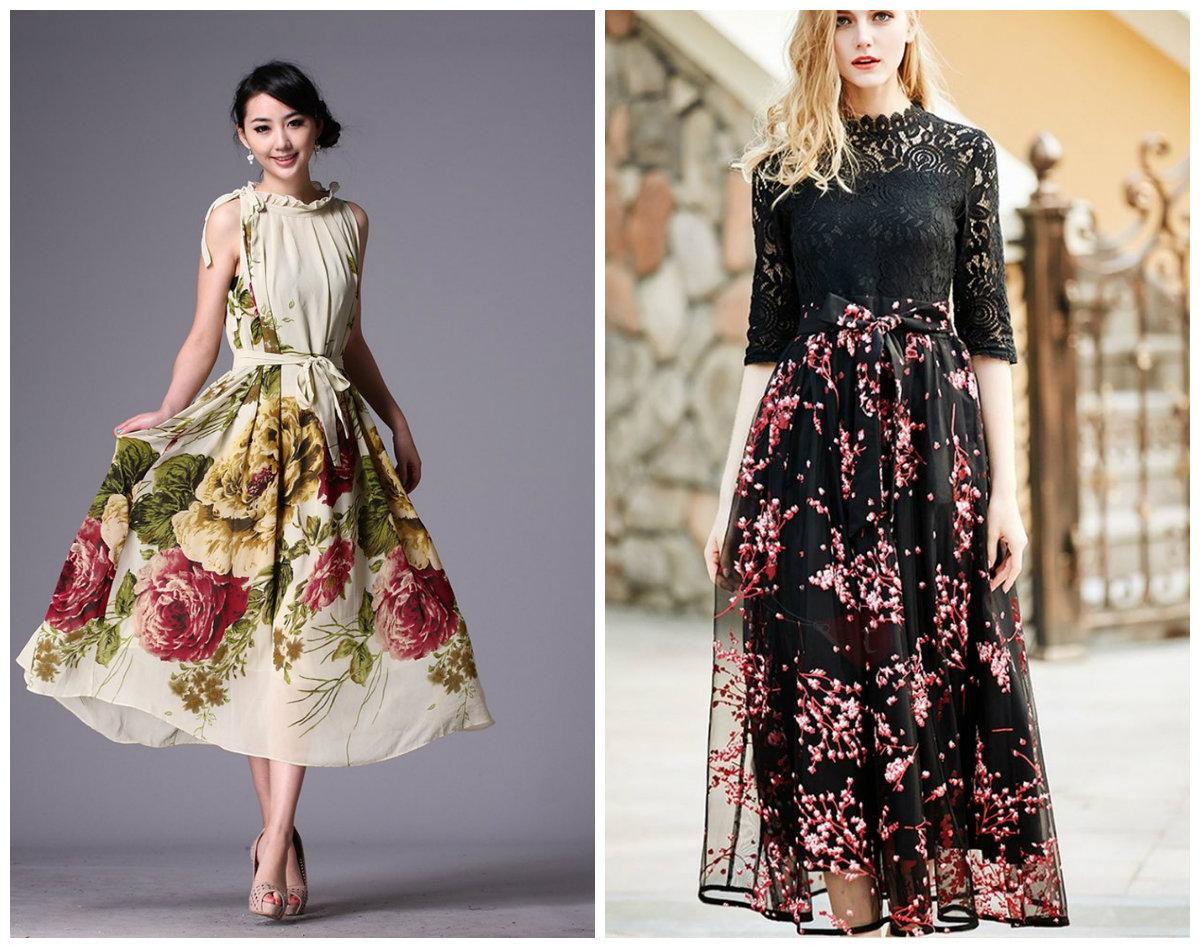 vestidos da moda 2018, vestidos com desenhos florais
