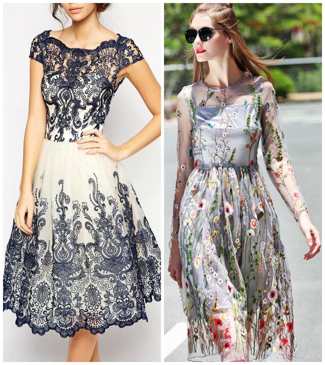 vestidos da moda 2018, vestidos bordados