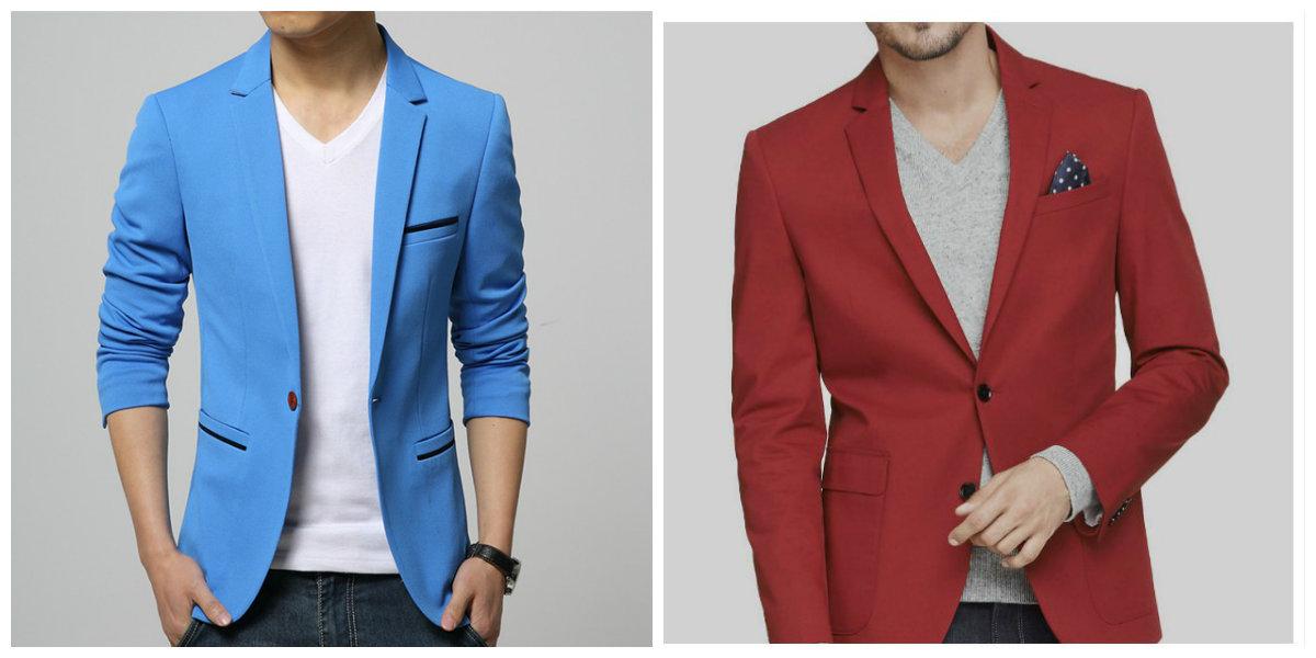 blazer masculino 2019, blazer de cor azul, blazer de cor vermelha