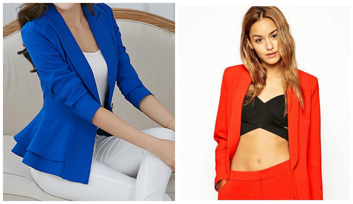 blazers femininos 2019, blazers de cor vermelha e azul