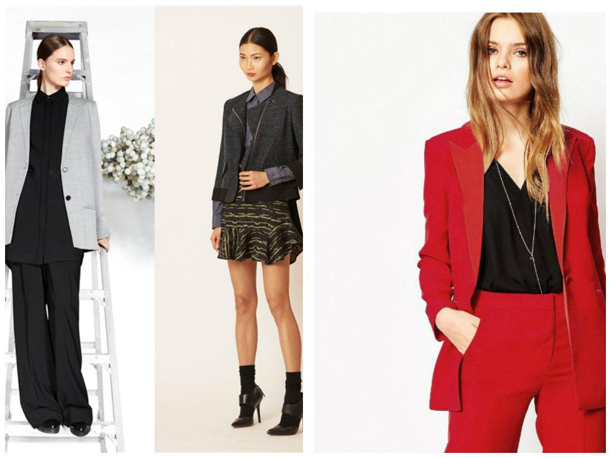 blazers femininos 2019, blazers de cores vermelha, cinza e preta