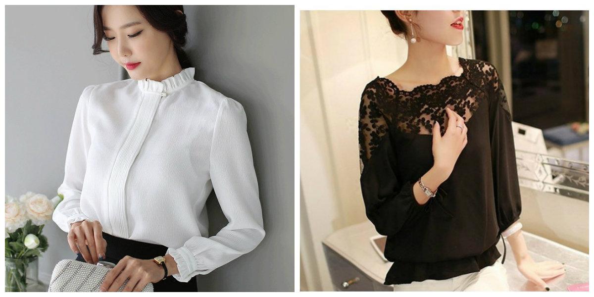 blusas 2019, camisas de seda branco e preto