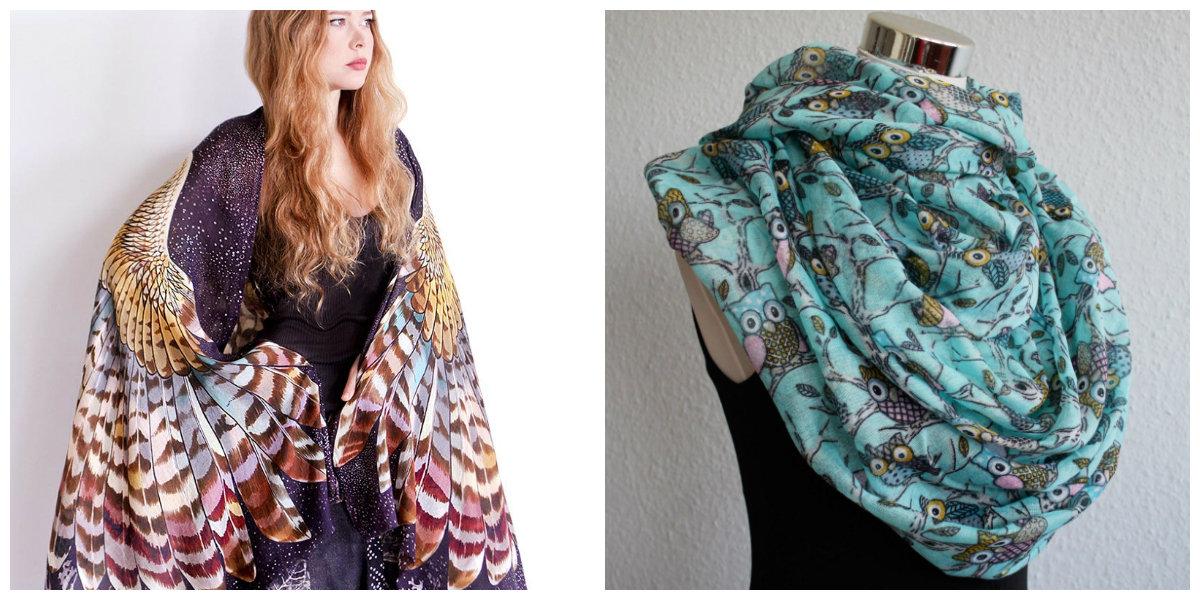 lenços 2018 ,lenços de seda e la com estampa de coruja