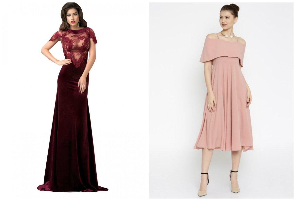 moda feminina 2019, vestidos de cores Bordoux, e rosa