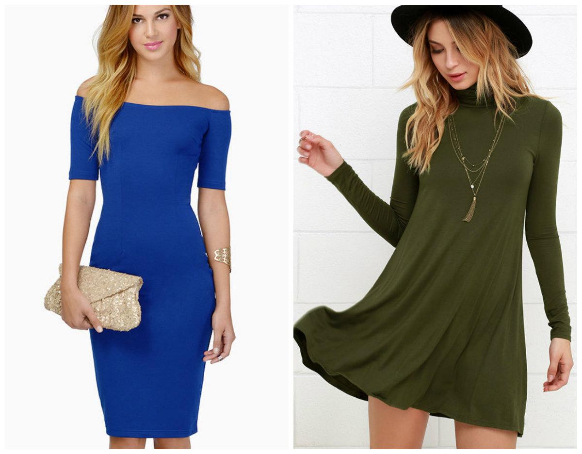 moda feminina 2019, vestidos de cor olive , e azul