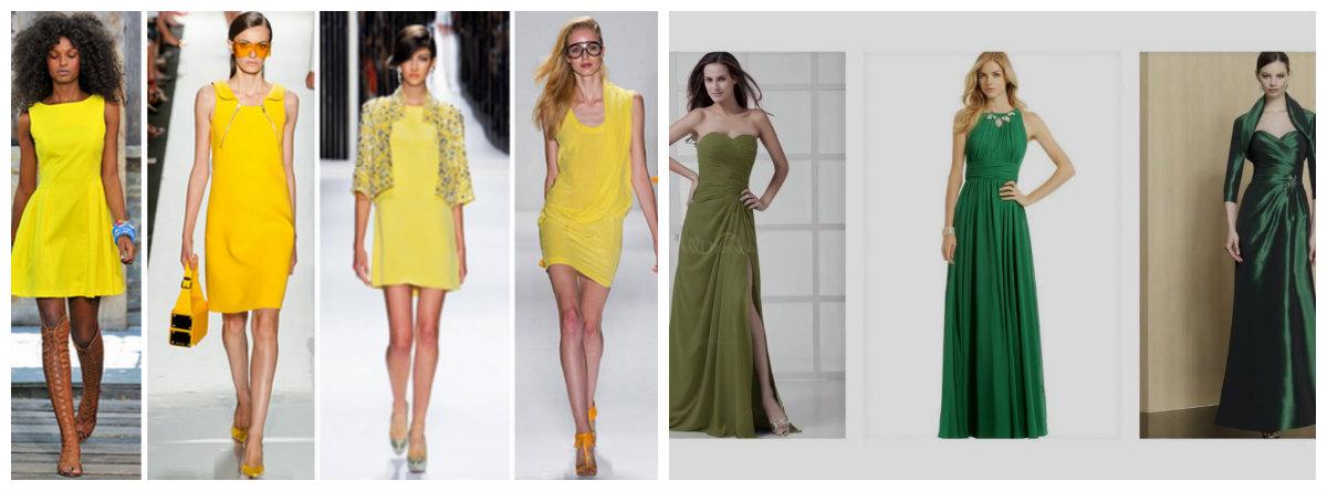 moda feminina 2019, vestidos de cor amarela e verde