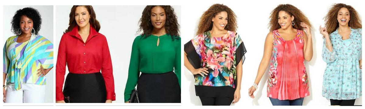 moda plus size 2019, blusas de seda de cores vermelha, verde, e ornamento floral