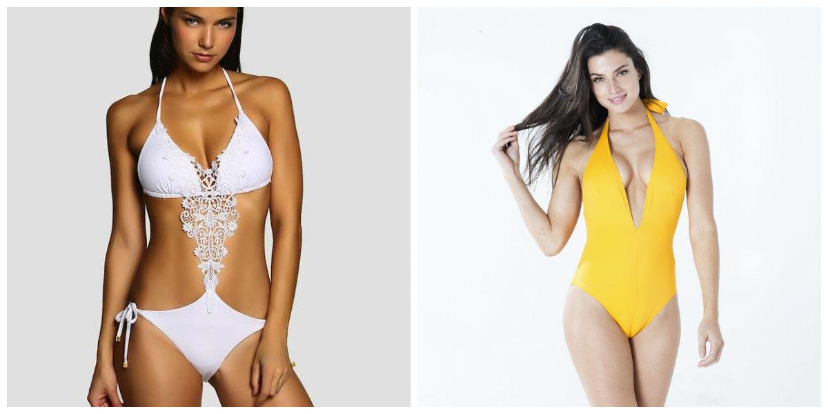 moda praia 2019, maios de cores branca e amarela