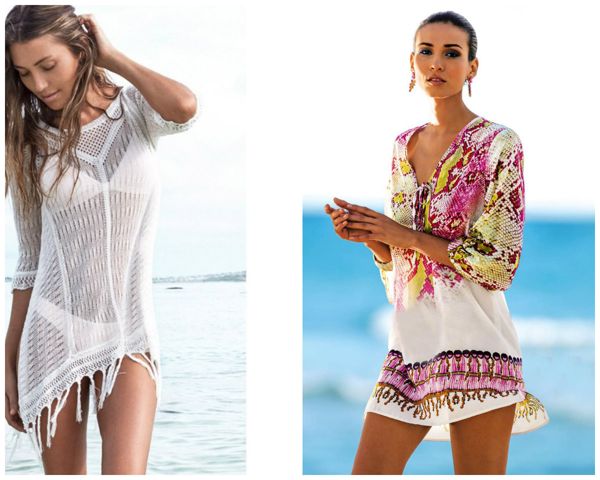 roupas de banho 2018, tunicas, branca, colorida
