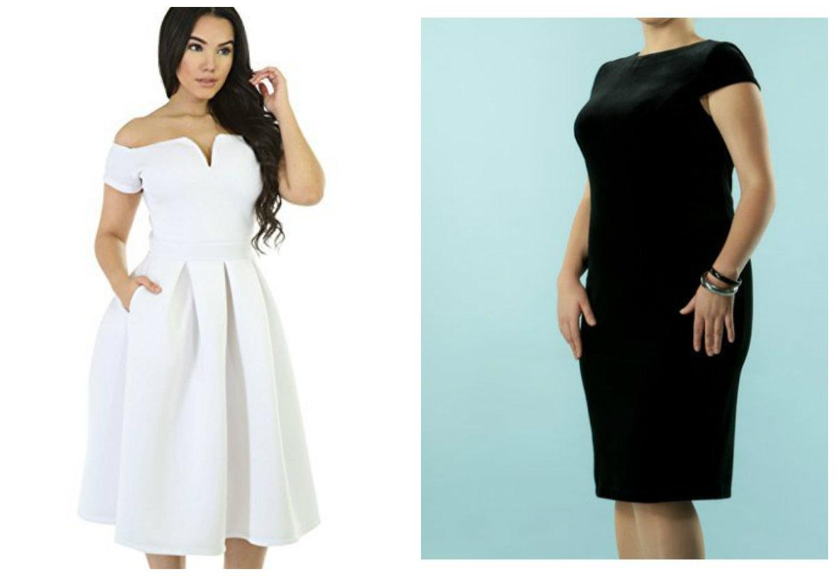 roupas plus size 2019, vestidos branco e preto