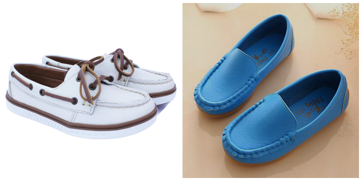 sapato infantil masculino , mocassins de cor azul e branca