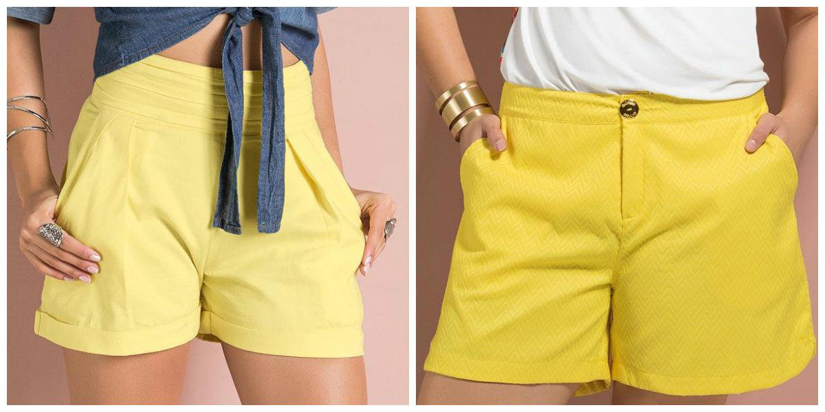 shorts femininino 2018, cor amarela
