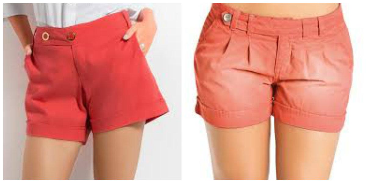 shorts feminino 2019, cor coral