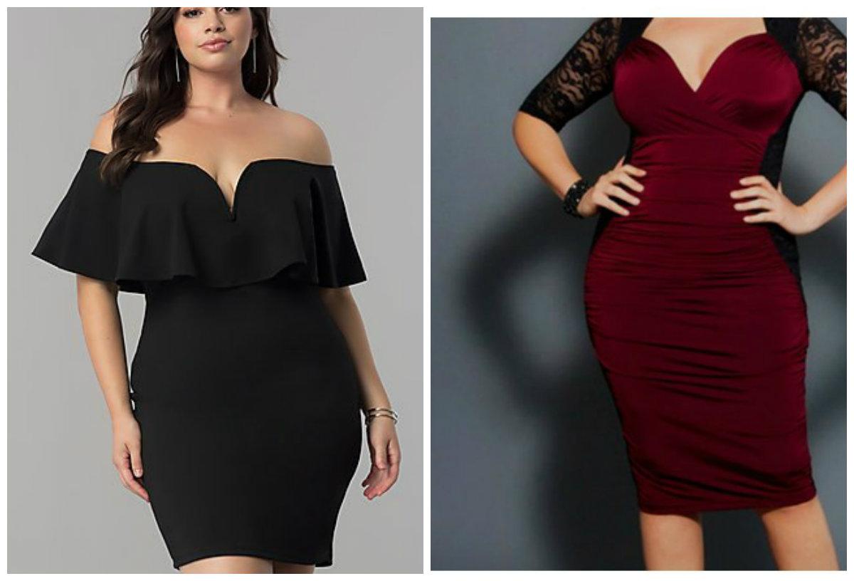 vestidos de festa plus size 2018, vestidos de cor preta e borgonha