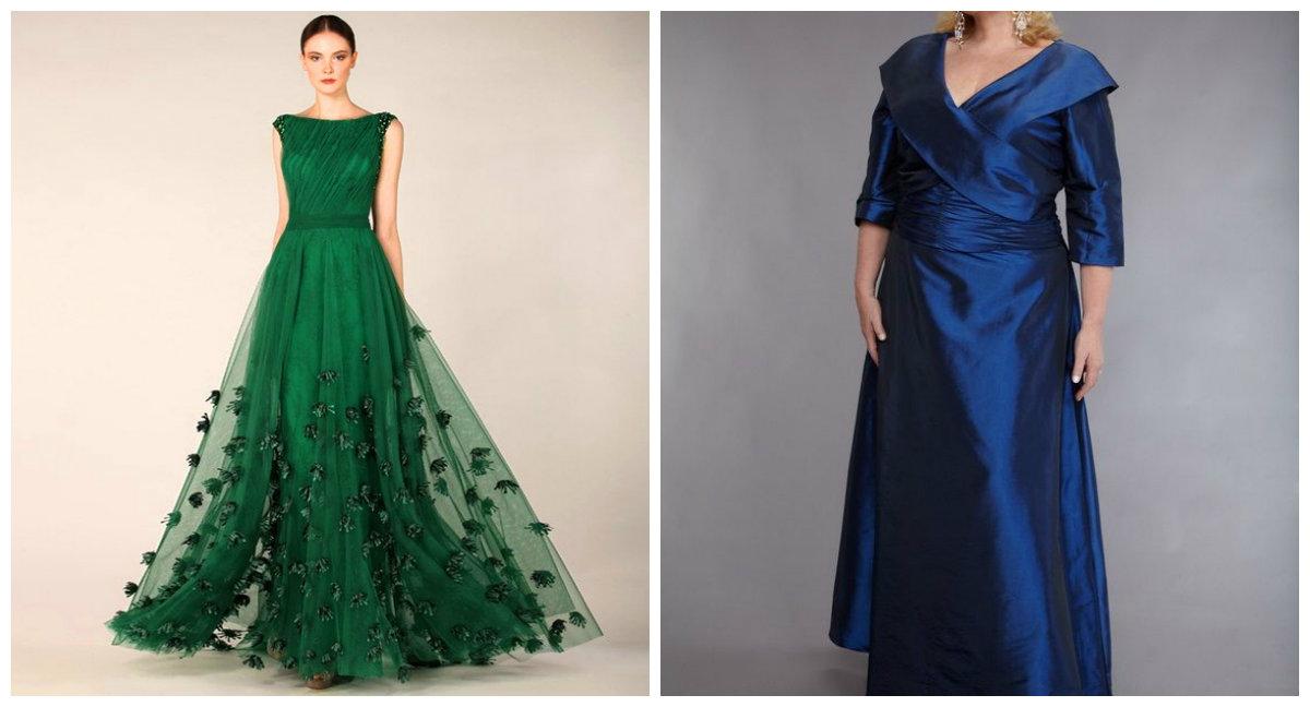 vestidos de festa plus size 2018, vestidos de cor emeralda e azul