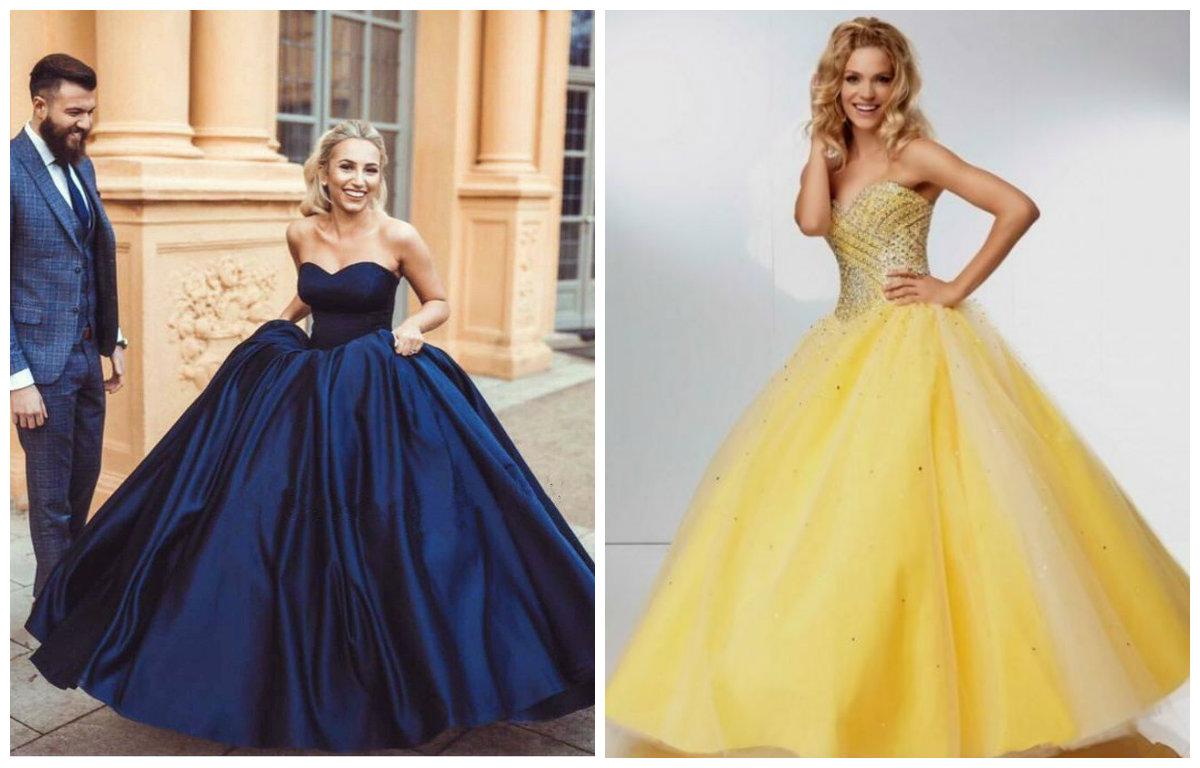vestidos de formatura 2018, vestidos de cor azul e amarela