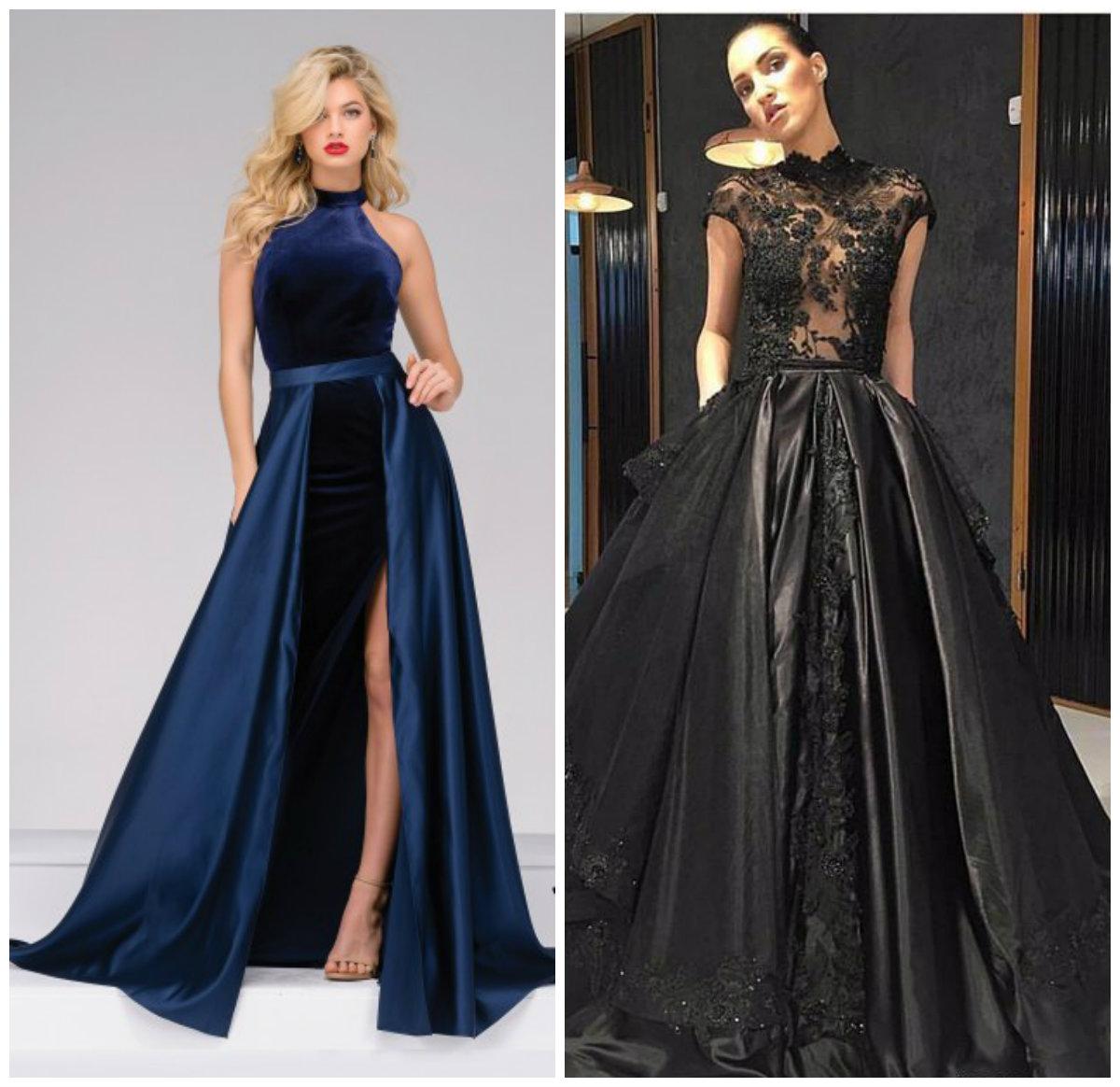 vestidos de noite 2018, vestidos de noite com saia saliente