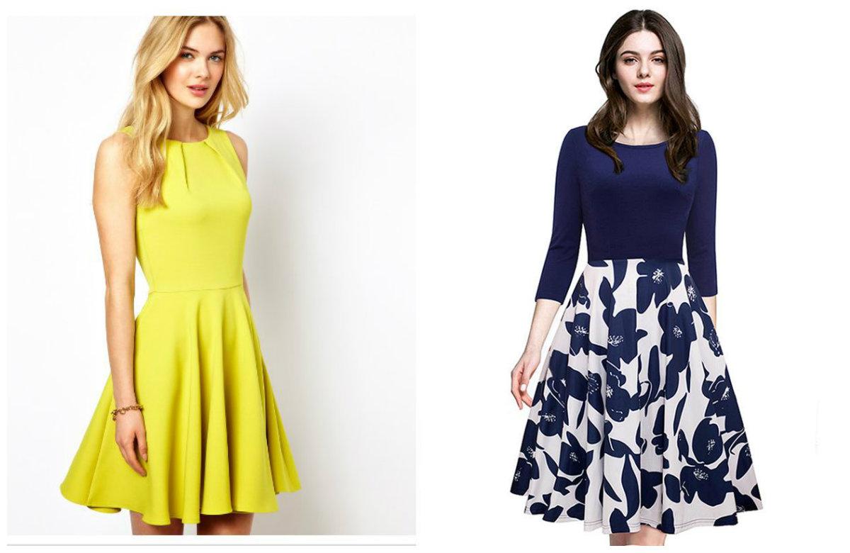 vestidos femininos 2019, vestidos casuais de cor amarela e azul