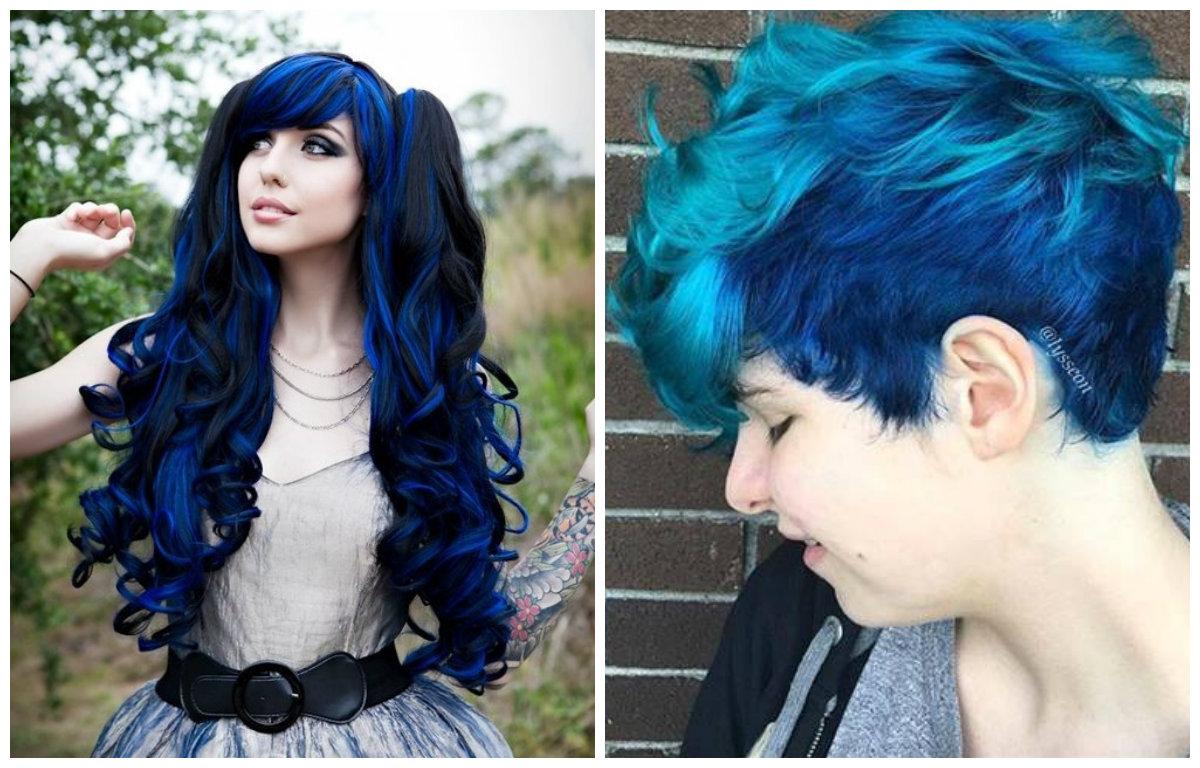 cabelo azul, cor de cabel azul neon