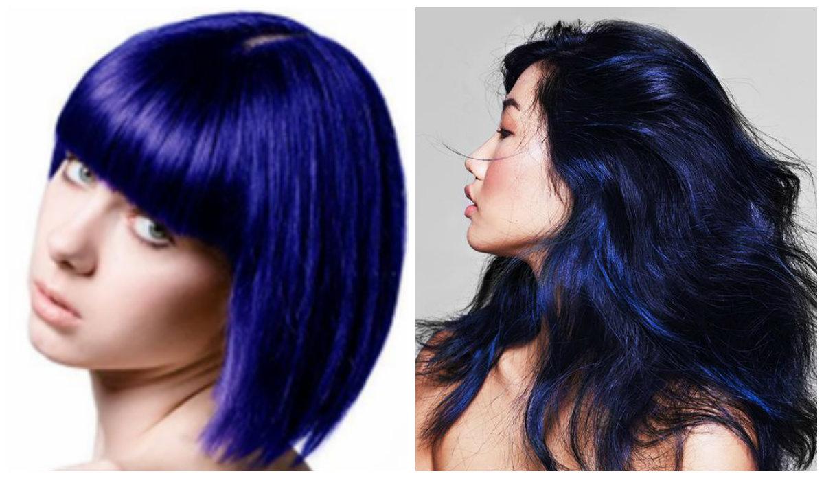 cabelo azul, cor indigo
