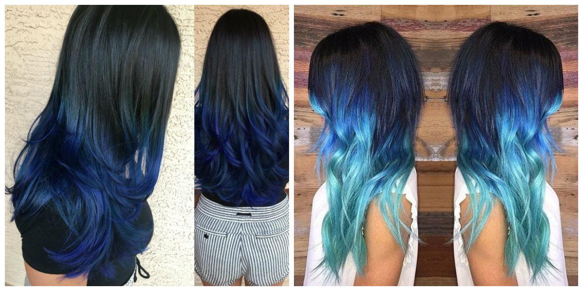 cabelo azul, pontas azuis