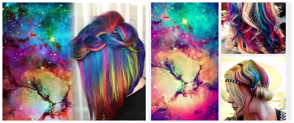 cabelo galaxia, cor de cabelo galaxia arco iris