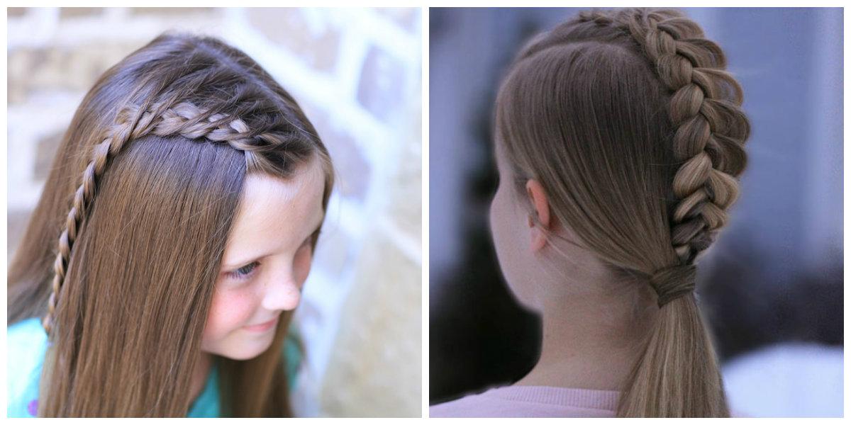 Penteados para crianças, penteado com trancas holandês