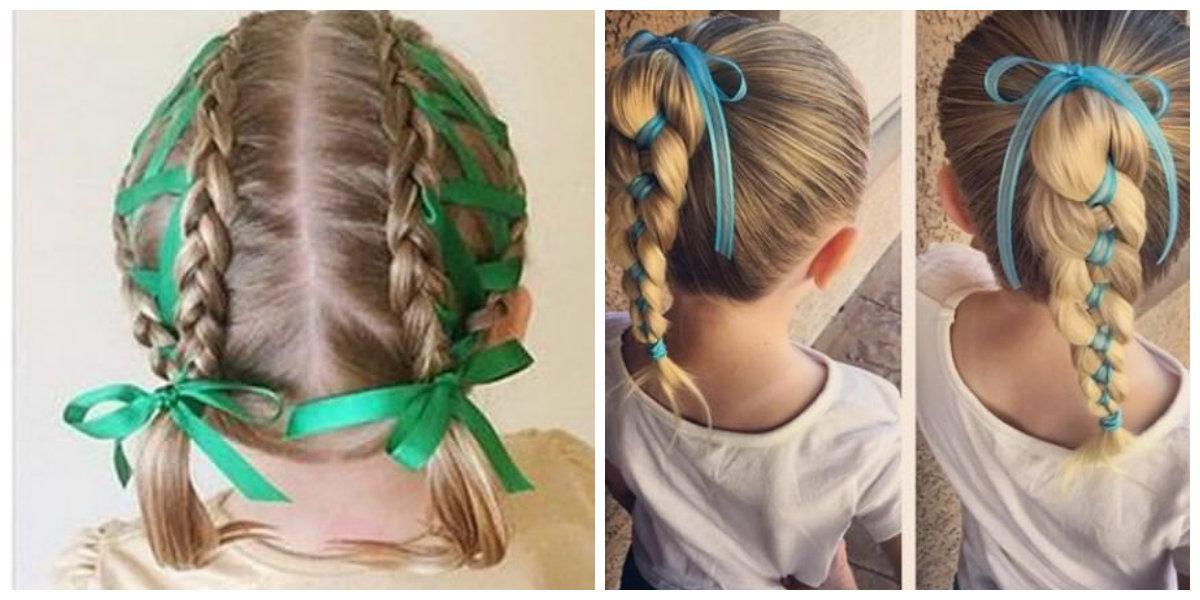 Penteados para crianças, penteado com fitas