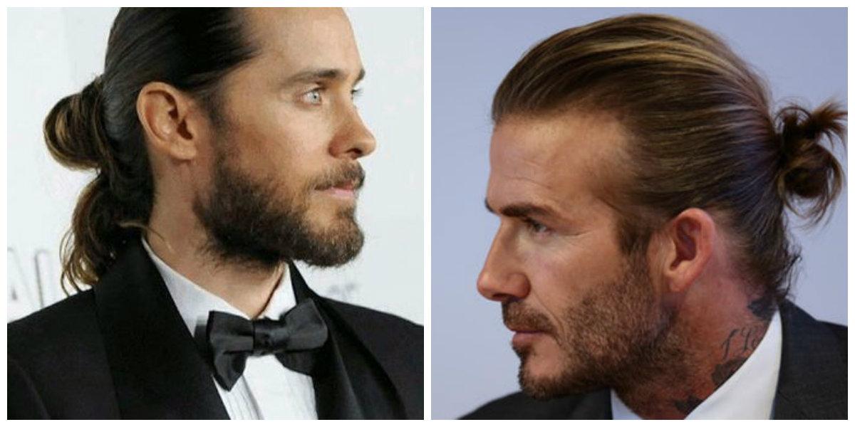 cabelo masculino grande, coque alto