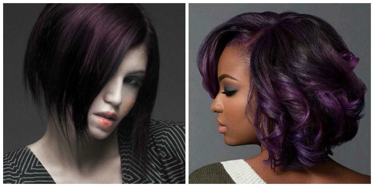cabelo roxo escuro, cor de cabelo moderno