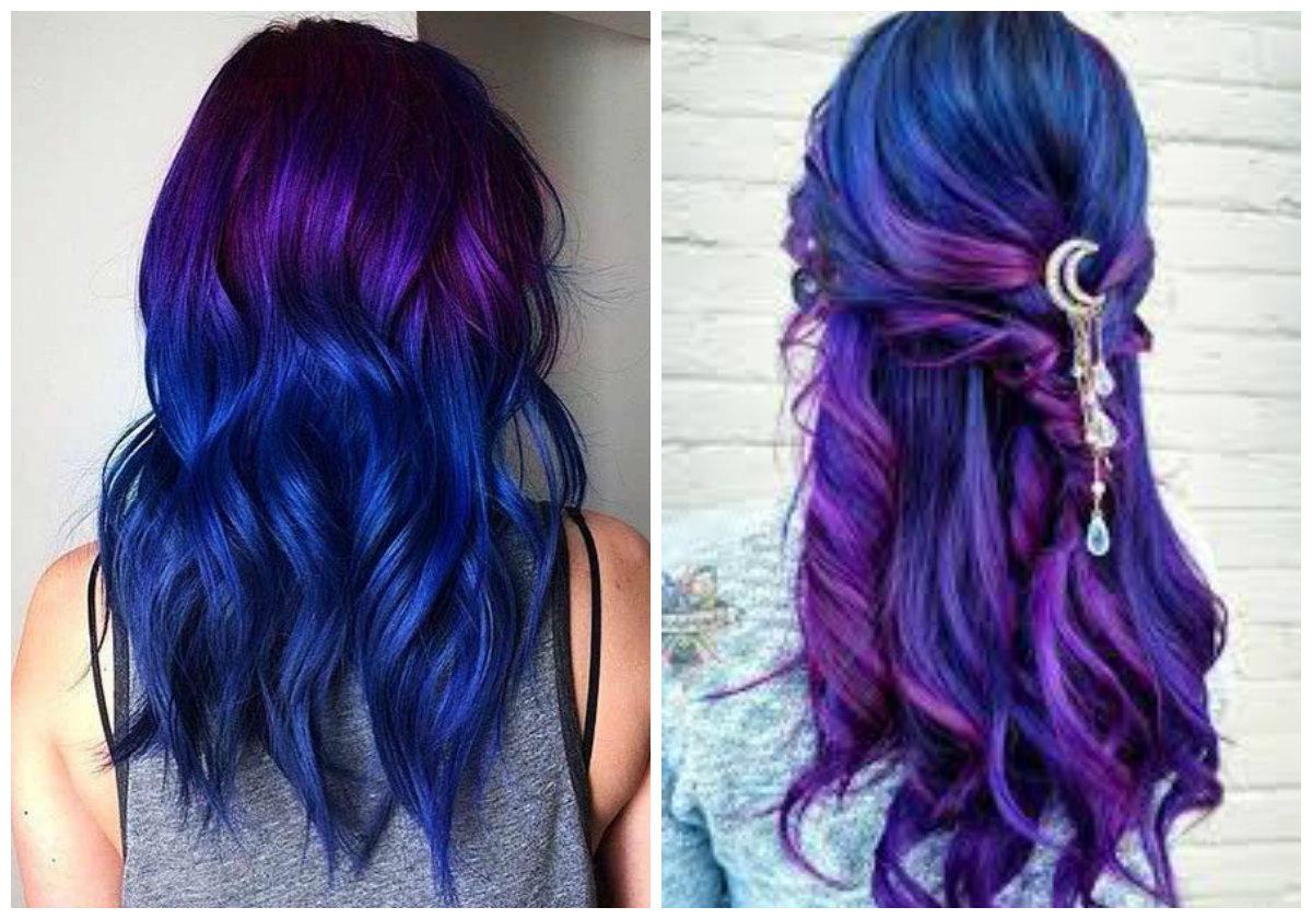 cabelo roxo escuro, cabelo azul e roxo