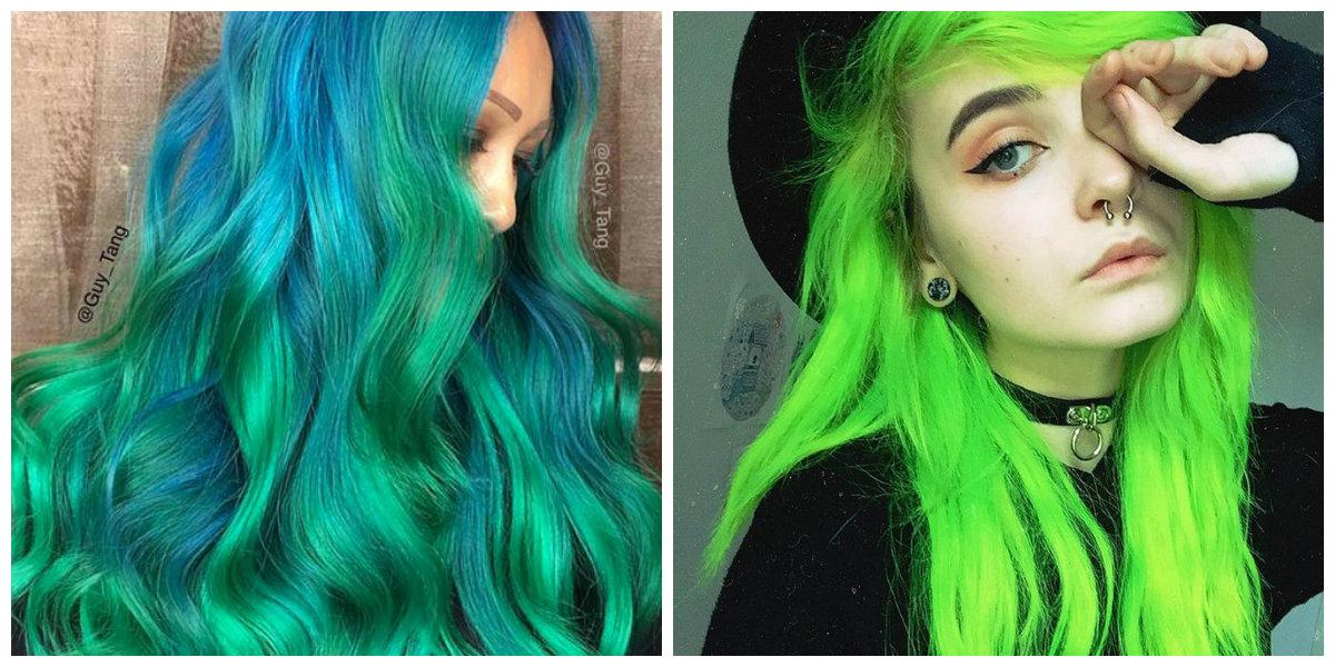 cabelo verde, cor de cabelo verde neon
