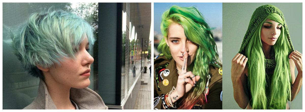 cabelo verde, cor de cabelo verde fresco