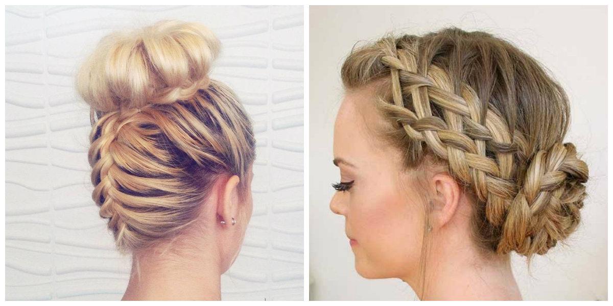 penteados para cabelos longos, penteados com trancas entrelacadas