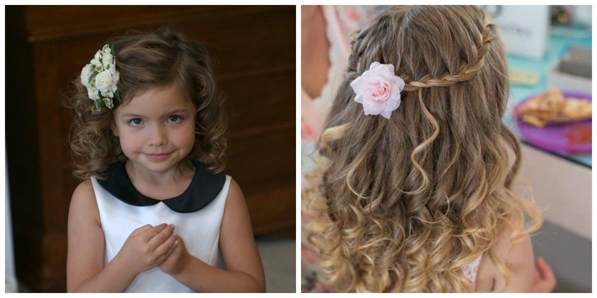 penteados para meninas, decorado com flores