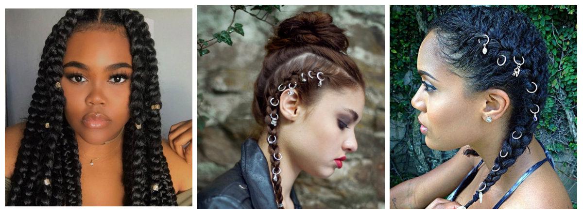penteados tranças afros, decorado come aneis