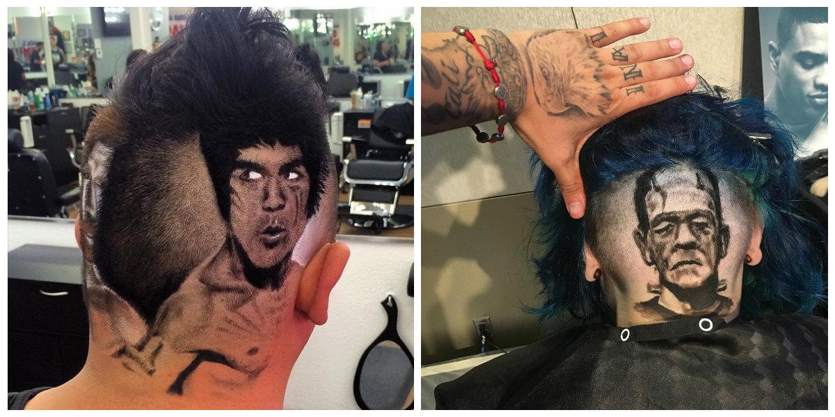 tatuagem de cabelo, artista Rob Ferrel
