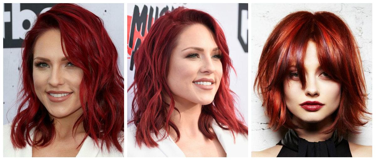tons de cabelo vermelho, cor fogo vermelho