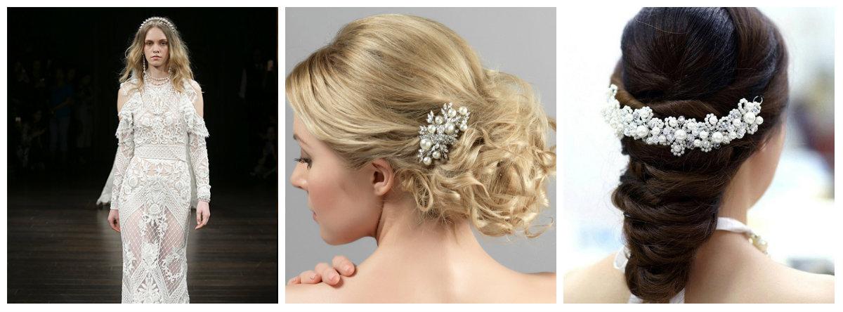 cabelos para casamento 2019, acesorios para cabelo com perola