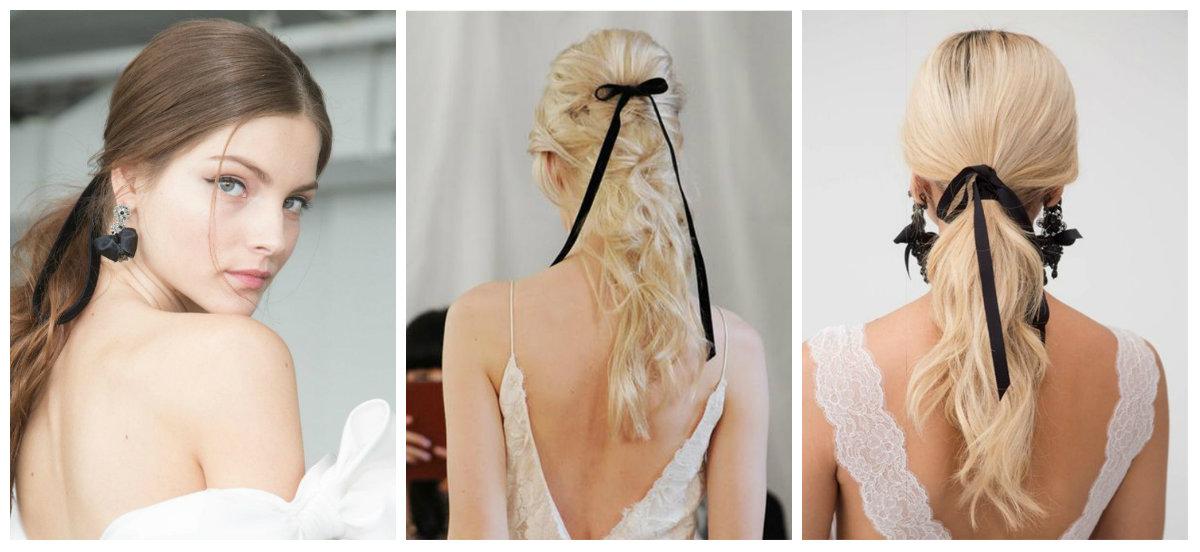 cabelos para casamento 2019, fitas pretas