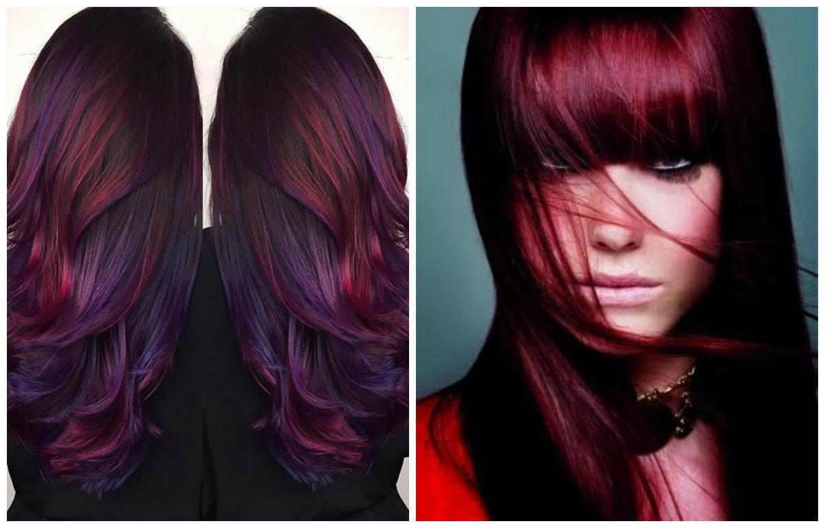 cor de cabelo borgonha, borgonha com azul saturado