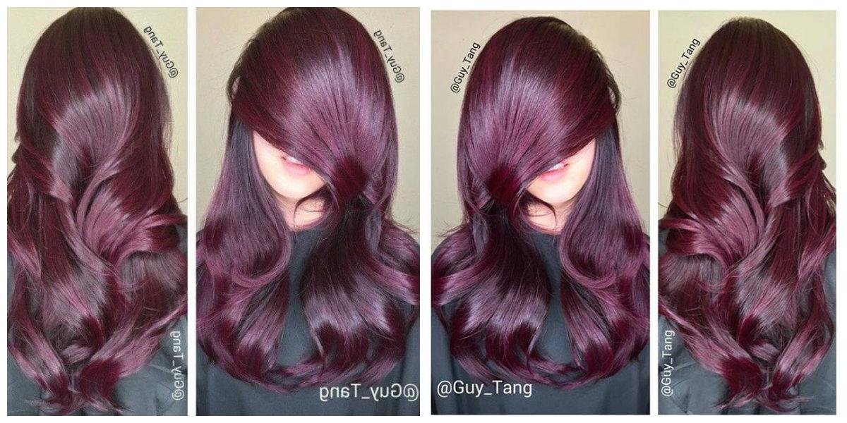 cor de cabelo borgonha, designer Guy Tung