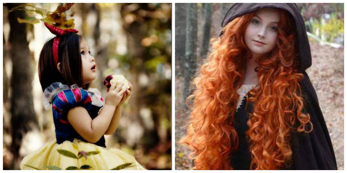 corte de cabelo infantil feminino, penteado de Branca Neve e Merida
