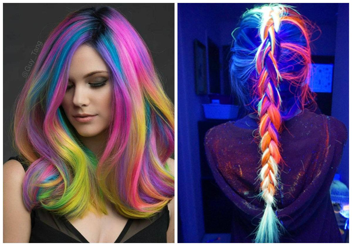 tons de cabelo, cabelo neon
