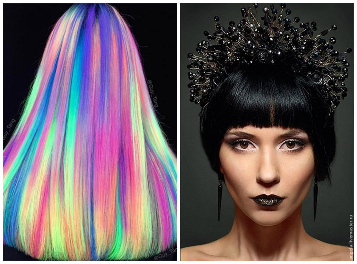 penteados para ano novo 2019, cabelo galaxia, raizes de brilho